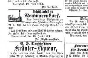 Warendorfer Wochenblatt 1863 Einladung Schützenfest