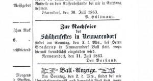 Warendorfer Wochenblatt 1863 Einladung Nachfeier