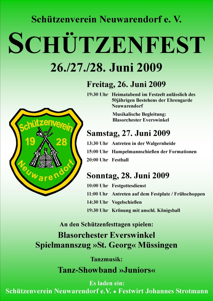 Schützenverein Neuwarendorf Plakat 2009